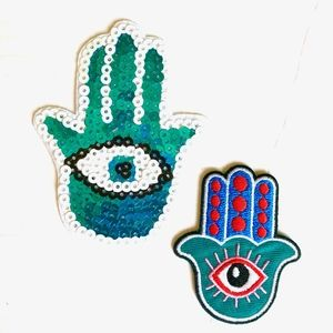 Accessories - Hamsa Hand patch iron on evil eye fatima DIY luck